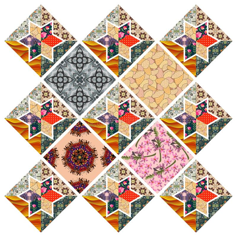 Piękny kołdrowy projekt Multicolor patchworku wzór royalty ilustracja
