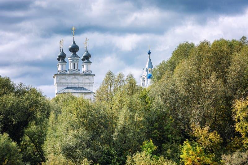 Piękny kościół z kopułami w gęsto zielonych liściach drzew Na tle niebieskiego, mętnego nieba fotografia royalty free