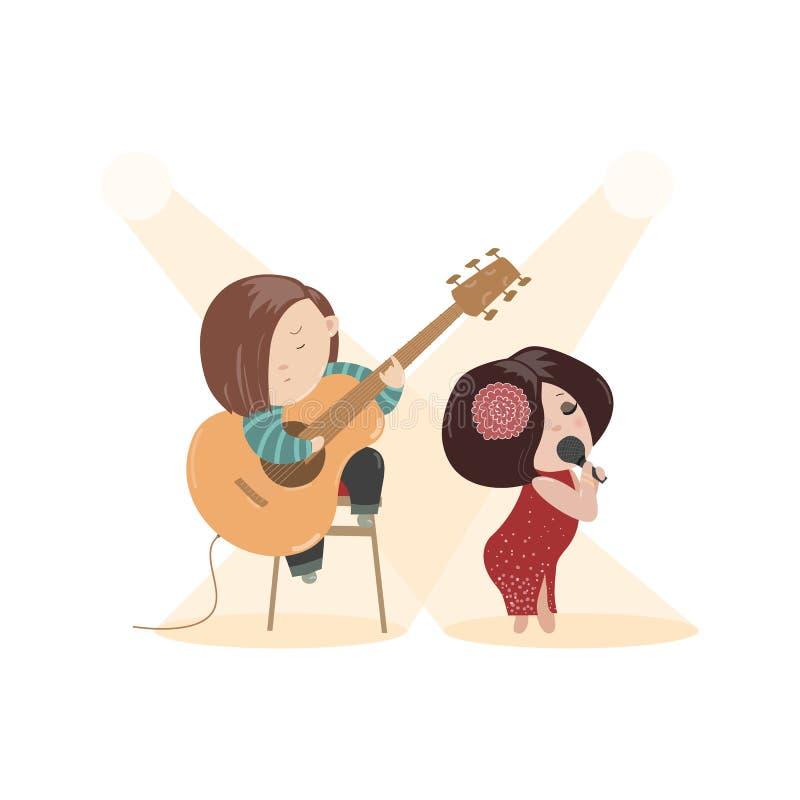 Piękny kobieta śpiew z mikrofonem i royalty ilustracja