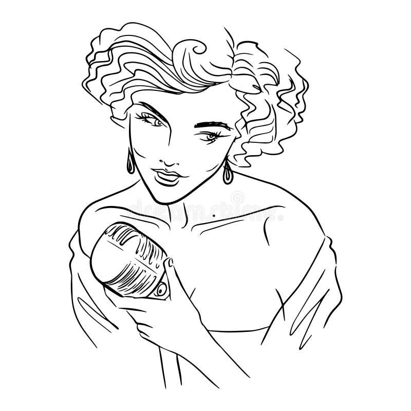 Piękny kobieta śpiew Z mikrofonem retro ilustracja wektor
