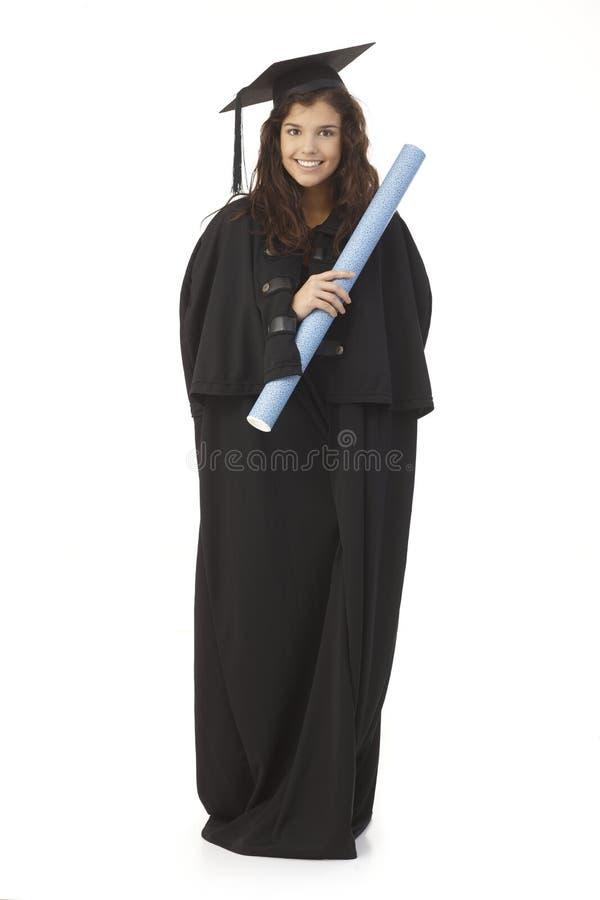 Piękny kobieta absolwent z dyplomem zdjęcie stock