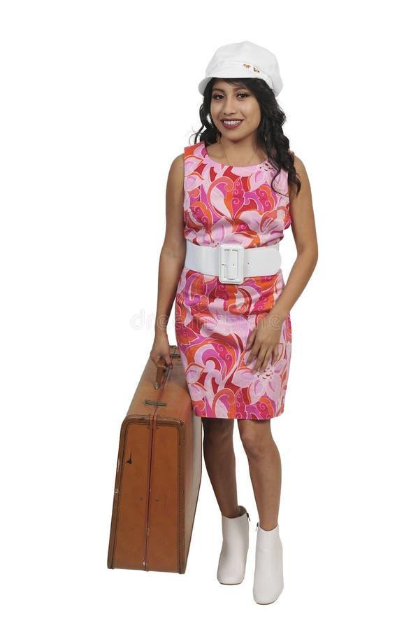 Piękny kobieta hipis w rocznik sukni fotografia royalty free