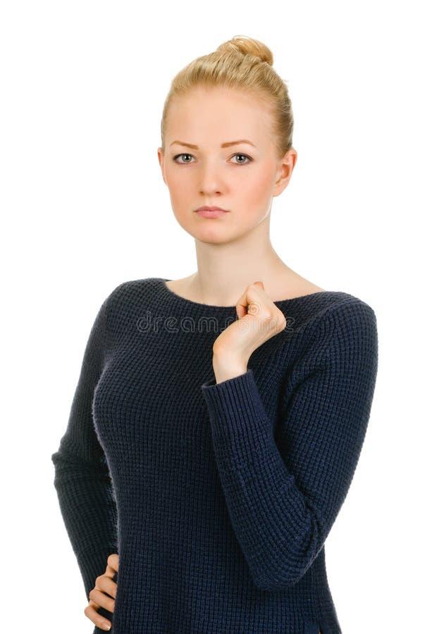 Piękny kobieta portret - poważny zdjęcie royalty free