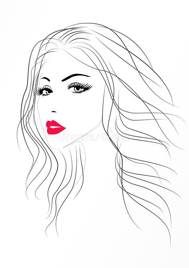 Piękny kobieta portret z czerwone seksowne wargi, wektor ilustracja wektor