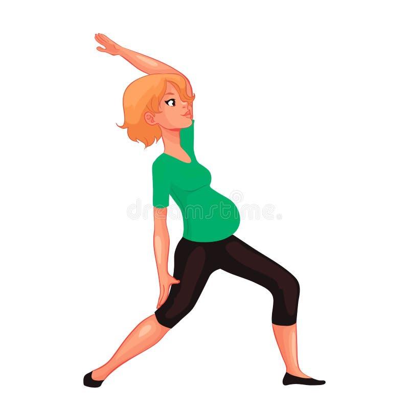 Piękny kobieta w ciąży w różnorodnych pozach joga ilustracji