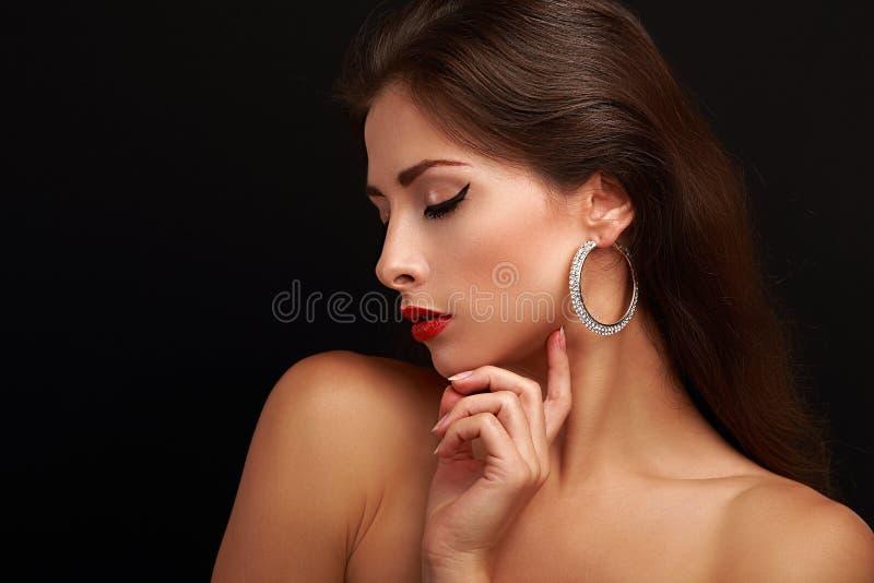 Piękny kobiety makeup twarzy profil fotografia royalty free