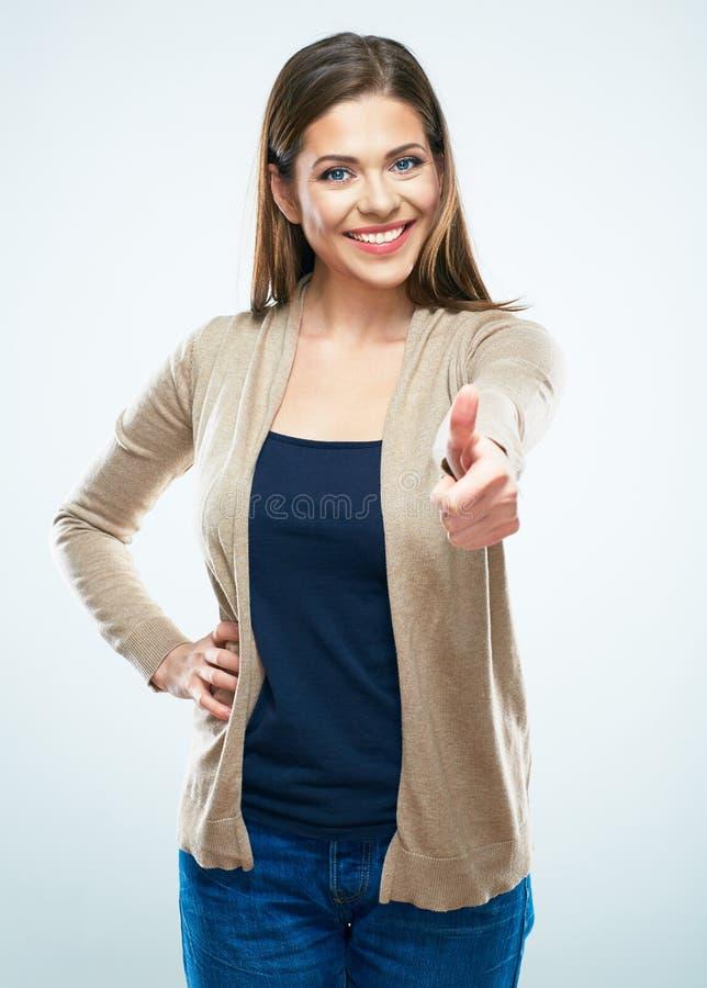 Piękny kobiety przedstawienia kciuk up Odosobniony portret zdjęcia stock