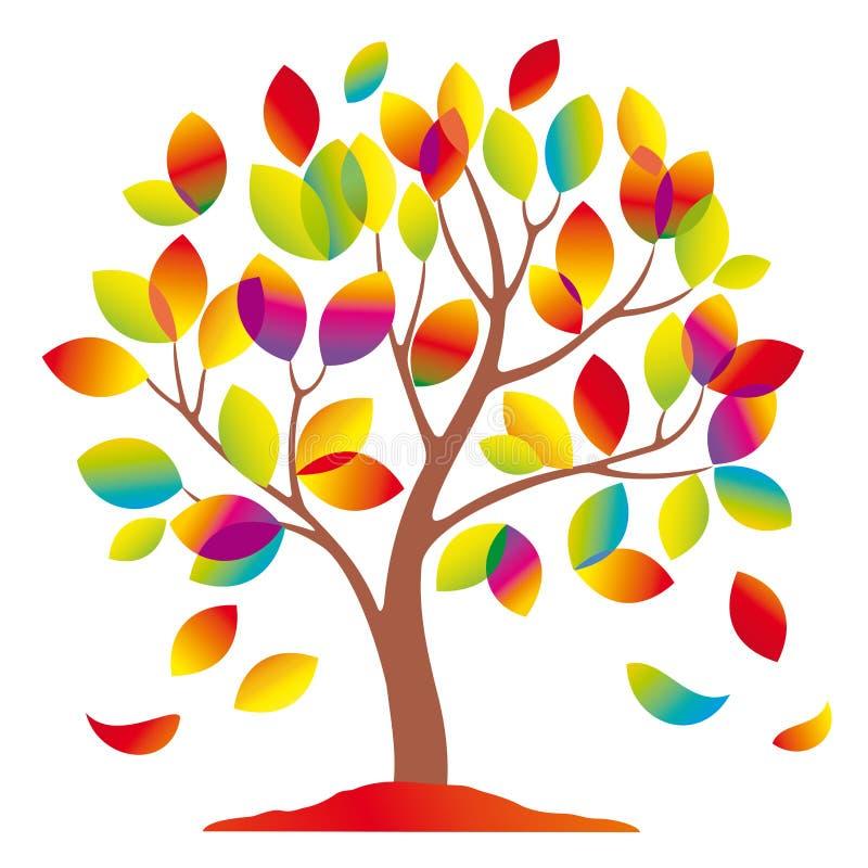 piękny kolorowy drzewo ilustracji