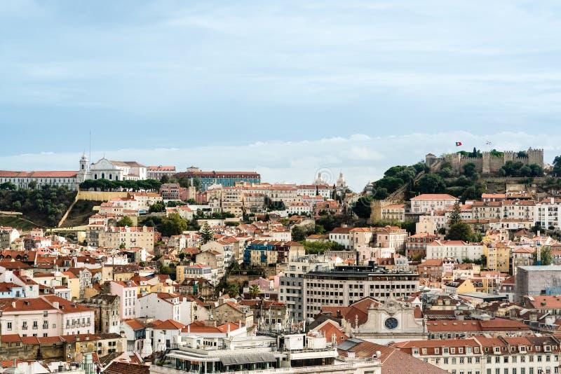 Piękny kolorowy i wibrujący pejzaż miejski Lisbon, Portugalia fotografia royalty free