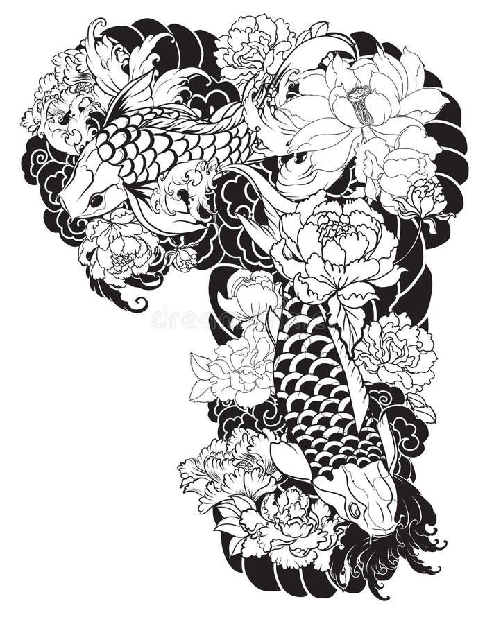 Piękny, kolorowy Koja karp z wodnym pluśnięciem, lotosy i peonia, kwitniemy Tradycyjny Japoński tatuażu projekt ilustracji