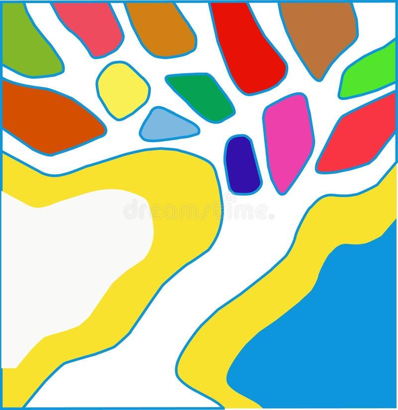 Piękny kolorowy magiczny abstrakcjonistyczny drzewo royalty ilustracja