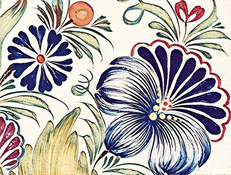 Piękny kolorowy obrazu kwiat z liśćmi Tradycyjny Ukraiński obraz ilustracja wektor