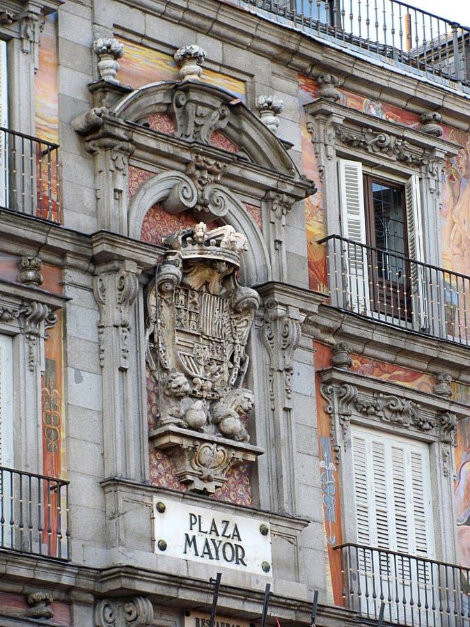 Piękny kolorowy placu Mayor w centrum Madryt, Hiszpania obrazy stock