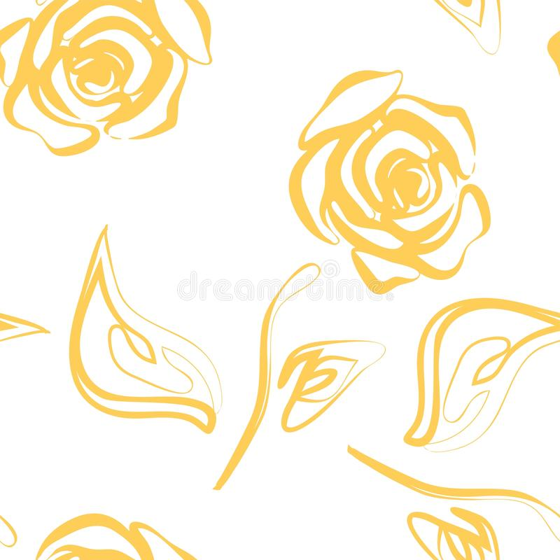 Piękny koloru żółtego i białego bezszwowy wzór w różach z konturami Pociągany ręcznie konturowe linie i uderzenia Doskonalić dla  ilustracja wektor
