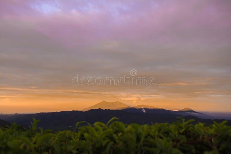 Piękny kopyto_szewski światło od zmierzchu na górze Salak, Halimun pasmo górskie fotografia stock