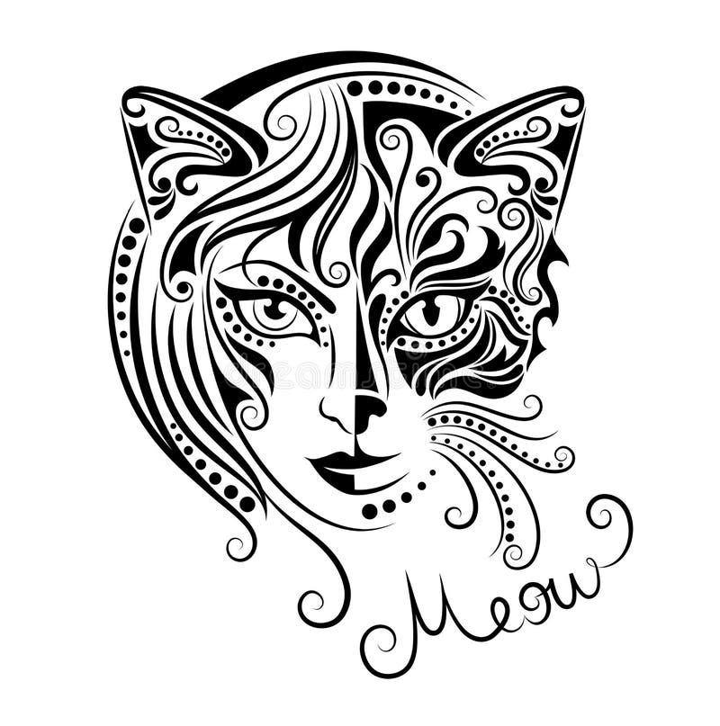 piękny kota na zewnątrz grać kobiety kobiet ilustracji