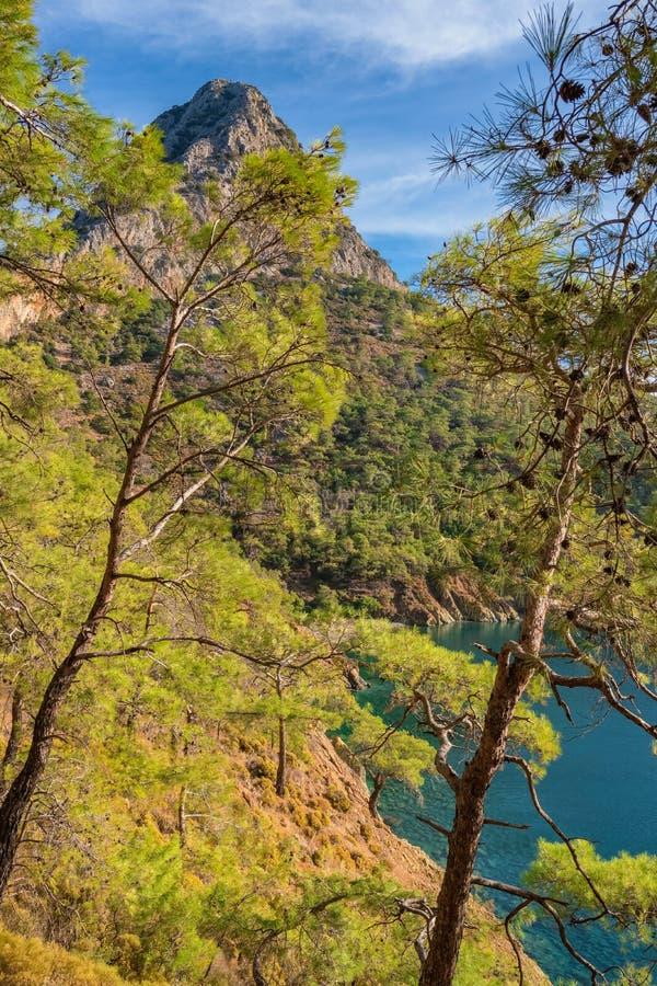 Piękny krajobraz Śródziemnomorski wybrzeże blisko Antalya, Turcja zdjęcia stock