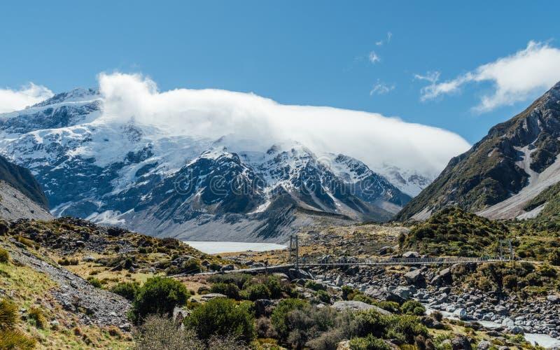 Pi?kny krajobraz g?ra Cook w Nowa Zelandia fotografia stock
