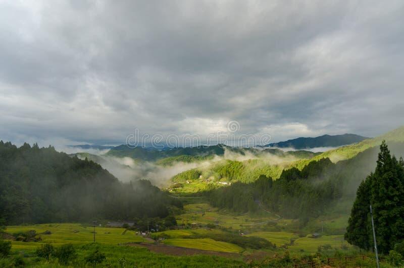Piękny krajobraz Japońska wysokiej góry wieś zdjęcie stock