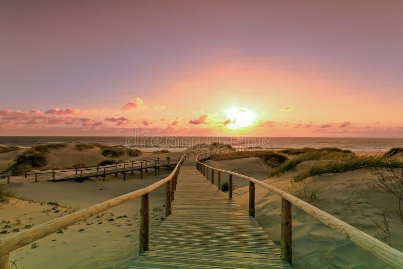 piękny krajobraz na plażowym torreira obraz stock