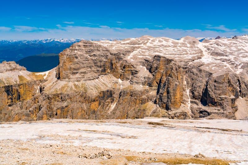Piękny krajobraz Sella grupa piękni dolomity zdjęcia stock