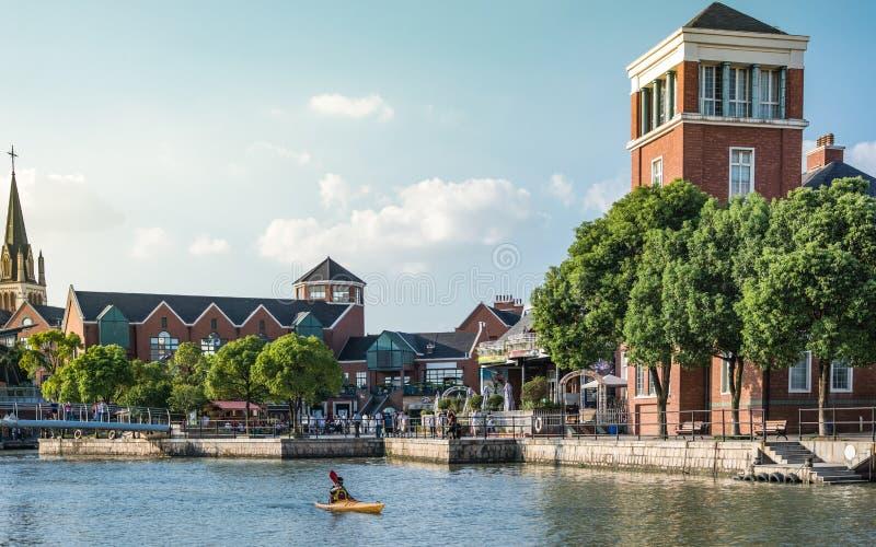 Pi?kny krajobraz Thames miasteczko w Szanghaj fotografia stock