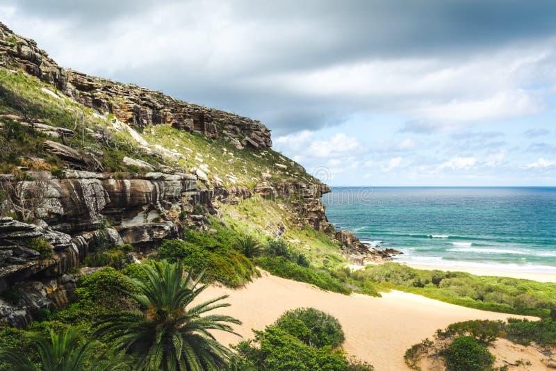 Piękny krajobraz w palm beach, Australia obraz stock
