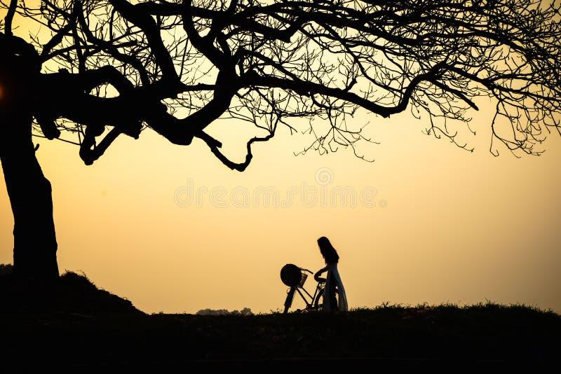 Piękny krajobraz z drzewo sylwetką przy zmierzchem z Wietnamską kobietą jest ubranym tradycyjną sukni Ao Dai pozycję pod drzewem obraz stock