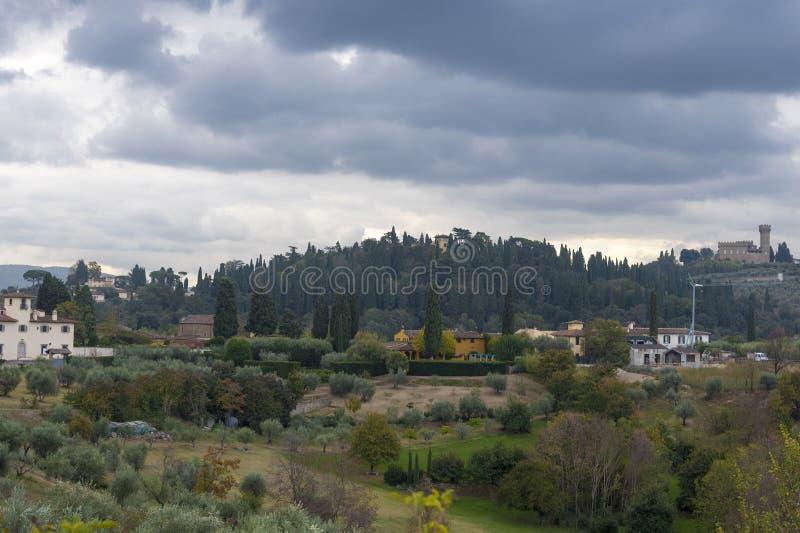 Piękny krajobraz z góry, panorama dziejowy widok Florencja od punktu Boboli uprawia ogródek obrazy stock