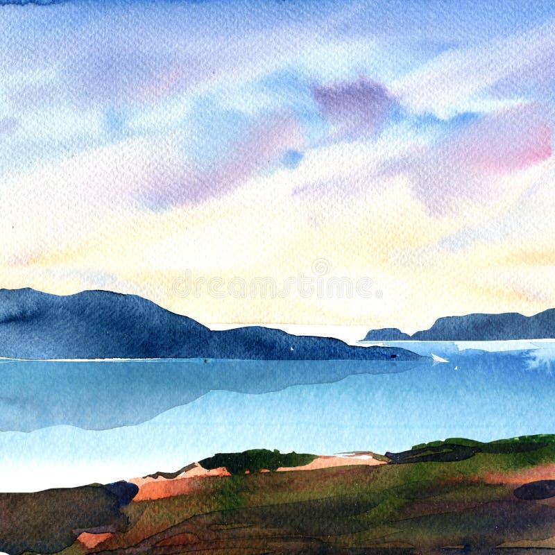 Piękny krajobraz z oceanem, góry, niebo z kolorowymi chmurami, artystyczna tapeta, piękny widok, relaksuje, być na wakacjach, ilustracji