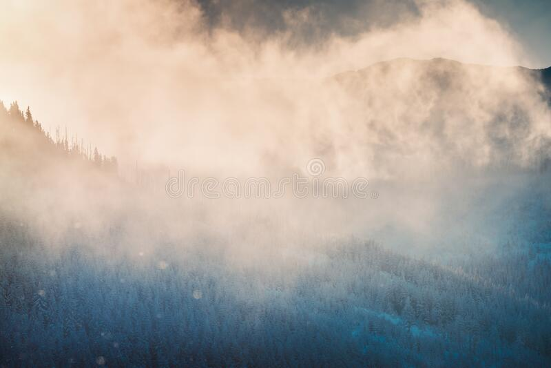 Piękny krajobraz zimowy obrazy royalty free