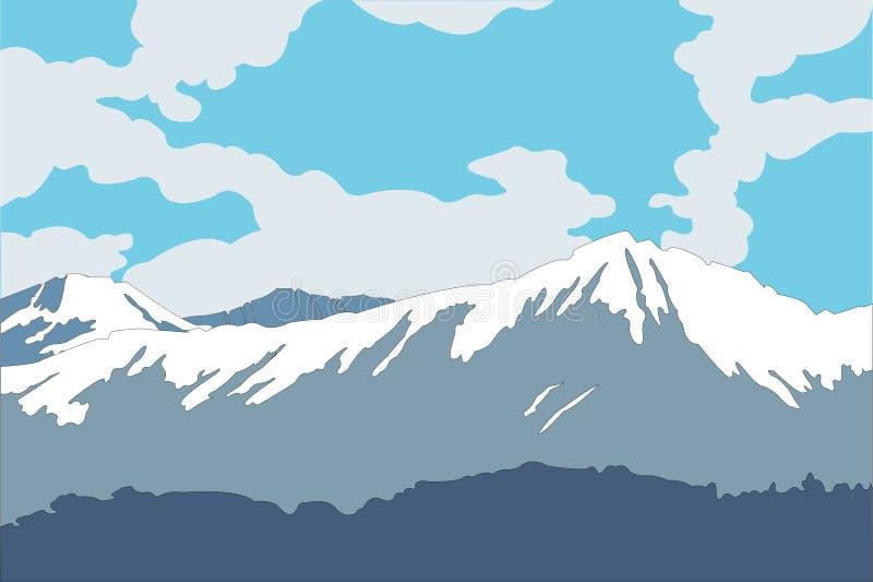 Piękny krajobrazowy błękitny góry nieba las ilustracja wektor