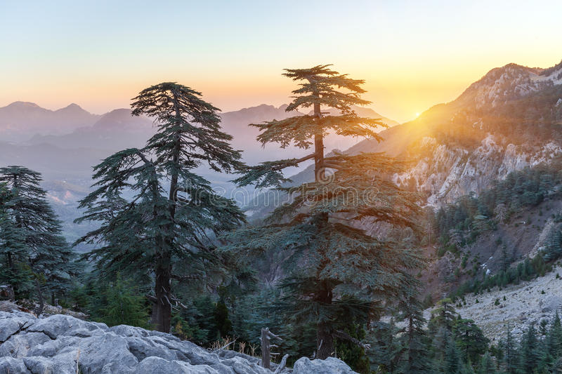 piękny krajobrazowy gór lato wschód słońca Okręg Kemer, Antalya prowincja, Turcja obrazy stock