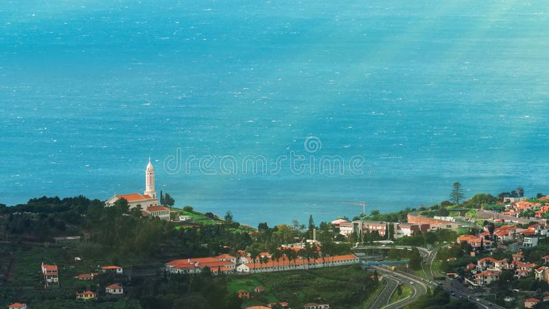 Piękny krajobrazowy widok Funchal, madera, z wierzchu góry obrazy royalty free