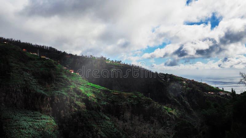 Piękny krajobrazowy widok Funchal, madera, z wierzchu góry fotografia stock