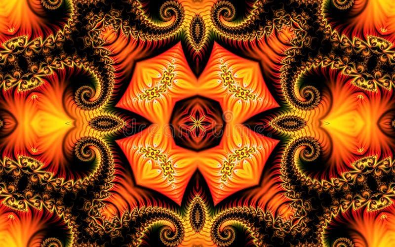 Piękny kreatywnie abstrakcjonistyczny tło składa się fractal ornament na żółtym pomarańczowym tle i kędziory ilustracja wektor