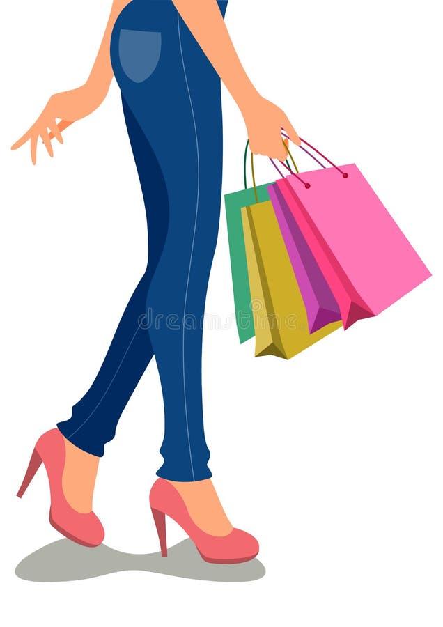 Piękny kreskówek dziewczyn robić zakupy ilustracja wektor