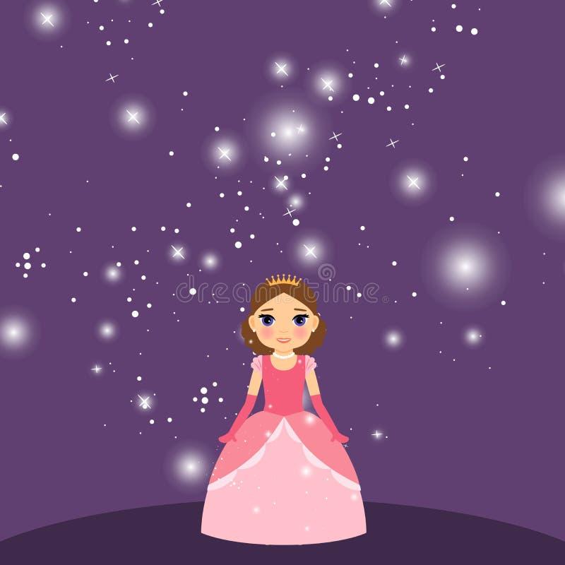 Piękny kreskówki princess na fiołkowym tle ilustracji