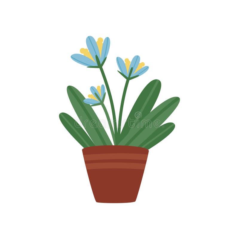 Piękny kwiat z zielenią opuszcza w brown ceramicznym garnku Mały dekoracyjny houseplant Płaski wektorowy element dla domowego wys ilustracja wektor