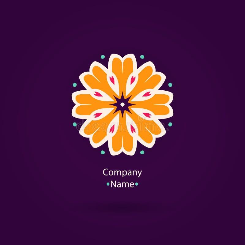 Piękny kwiatu logo Rocznik Pasiasty logotyp Pomarańczowy logotyp ilustracja wektor