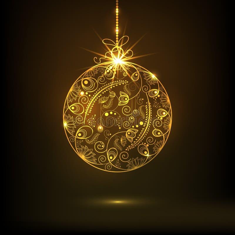 Piękny kwiecisty projekt dekorował złotą Mas piłkę dla Wesoło bożych narodzeń świętowań ilustracja wektor