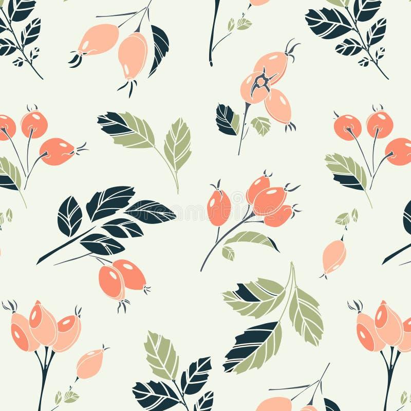 Piękny kwiecisty viburnum liści i jagod wzór Akwareli pomarańcze zieleni jagodowa pastelowa tkanina Kwiecisty lato royalty ilustracja