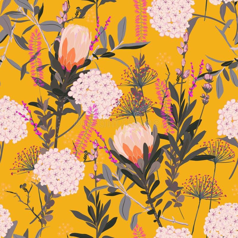 Piękny Kwiecisty wzór w dużo jakby kwitnie tropikalny ilustracji
