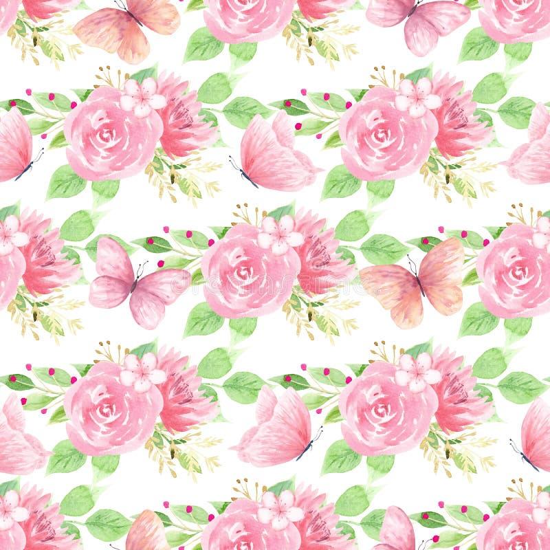 Piękny kwitnienie kwitnie bezszwowego wzór ilustracja wektor