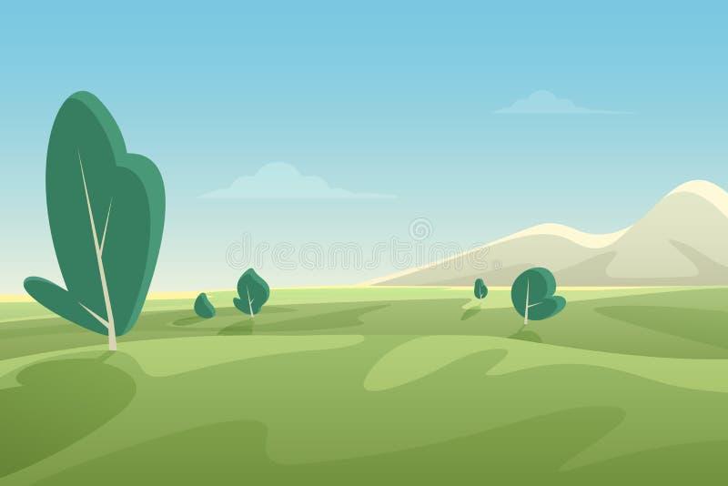 Piękny lat poly krajobraz z zielonymi wzgórzami i górami Kraju tła kreskówki mieszkania stylu sztandaru wektor ilustracja wektor