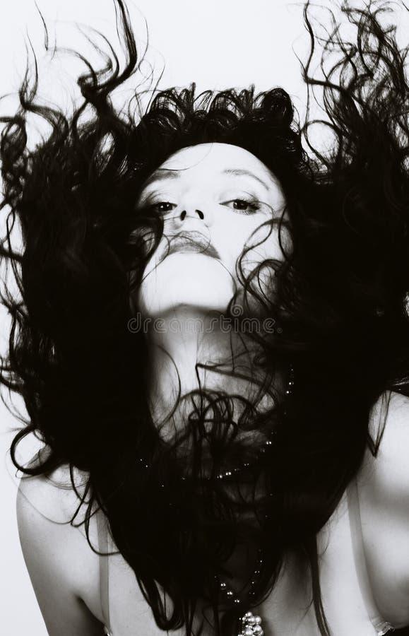 piękny latający włosy tęsk kobieta obraz stock