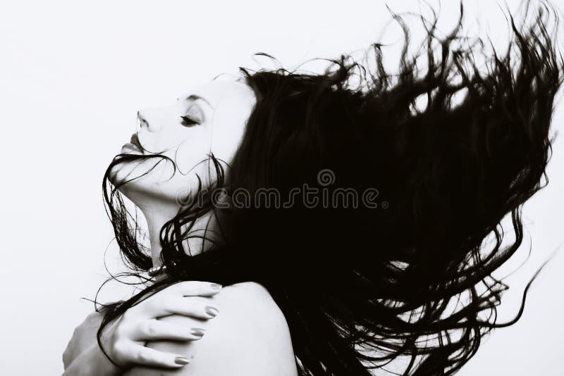 piękny latający włosy tęsk kobieta obraz royalty free