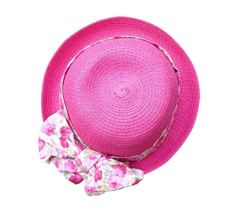 Piękny lato kobiety kapelusz z kwiatem odizolowywającym na białym tle (ścinek ścieżka) obrazy stock