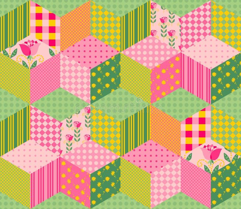 Piękny lato patchworku wzór Bezszwowy tło w menchii i zieleni brzmieniach royalty ilustracja