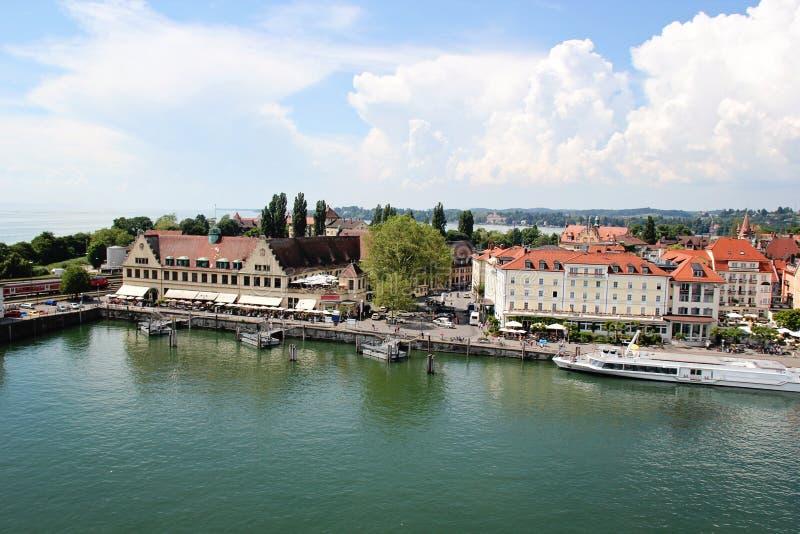 Piękny Lindau portu schronienie przy Jeziornym Constance, Bodensee, Germa zdjęcia royalty free
